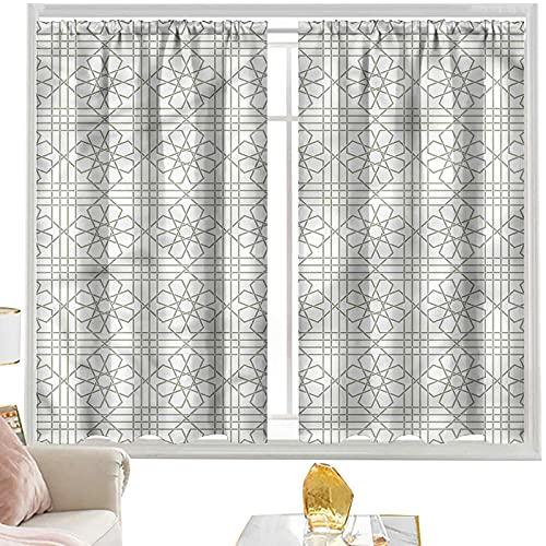 Cortinas grises, azulejos de mosaico árabes de 52 x 72 pulgadas de ancho
