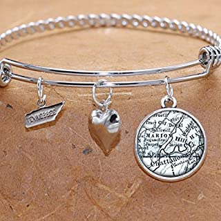 Map Charm Bracelet Chattanooga Tennessee City Maps State TN Charm Bangle Bracelet Vintage Map Jewelry Stainless Steel Charm Bracelet