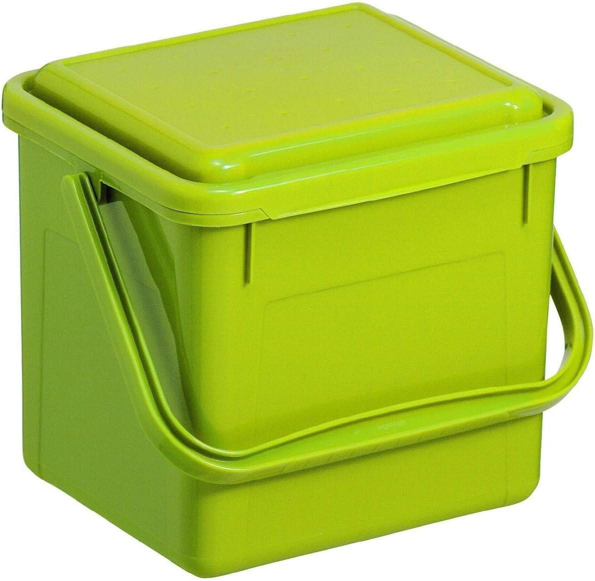 Rotho Bio, Abfallbehälter für die Küche aus Kunststoff mit geruchsdichtem Deckel in hellgrün, Biomülleimer mit 5 Liter Inhalt, ca. 21 x 20 x 18 cm…