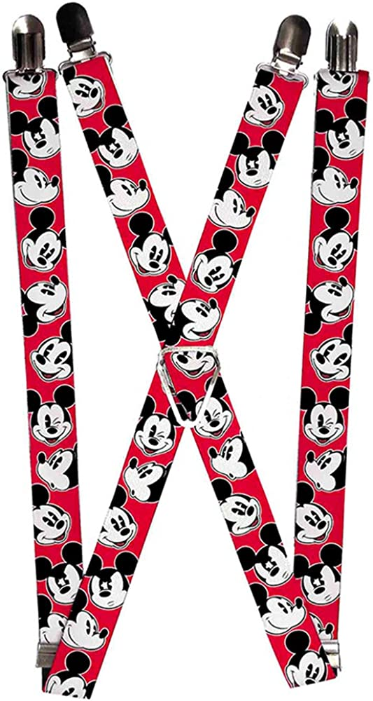 Buckle-Down Suspenders-Mickey Mouse Expressions Red/Black/White