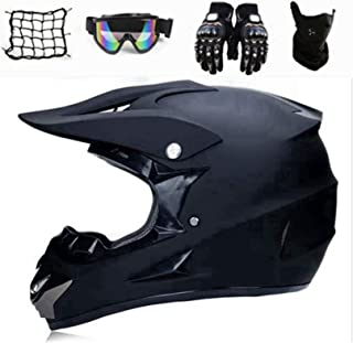 SYANO Motocross Helm Matte Schwarz,Motocross Motorradhelm Downhill Fullface Helm,Jugend Kinder Offroad Helm Mit Handschuhe, Schutzbrille, Motorrad netz,Schutzmaske M