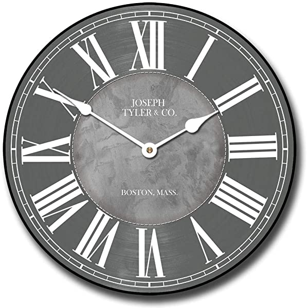 Waterford Gray Wall Clock Available In 8 Sizes Most Sizes Ship The Next Business Day Whisper Quiet