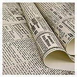 DXLANS Friso para Pared Retro Americana Vieja Inglés Alfabeto del periódico Ropa Tienda de Papel Pintado de café Bar de Papel de Pared de PVC Decoración Adesivos Paredes DecoracióN