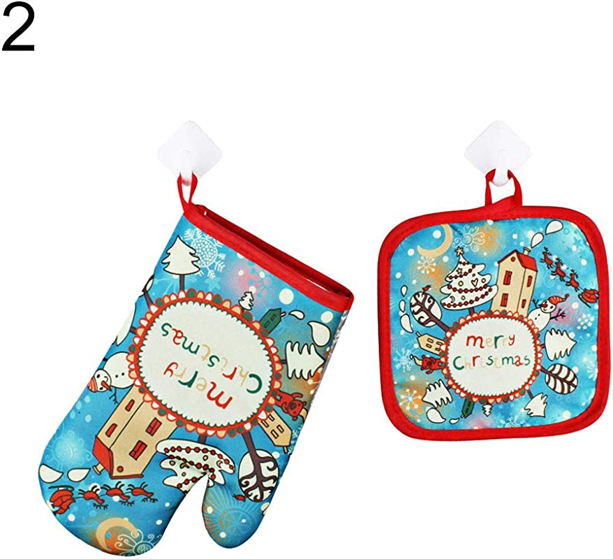 OAtm0eBcl Christmas Series Oven Mitts Mat Set 1Pc Heat Resistant Glove 1Pc Anti Hot Mat Christmas Party Decor Kitchen Baking Tool 2