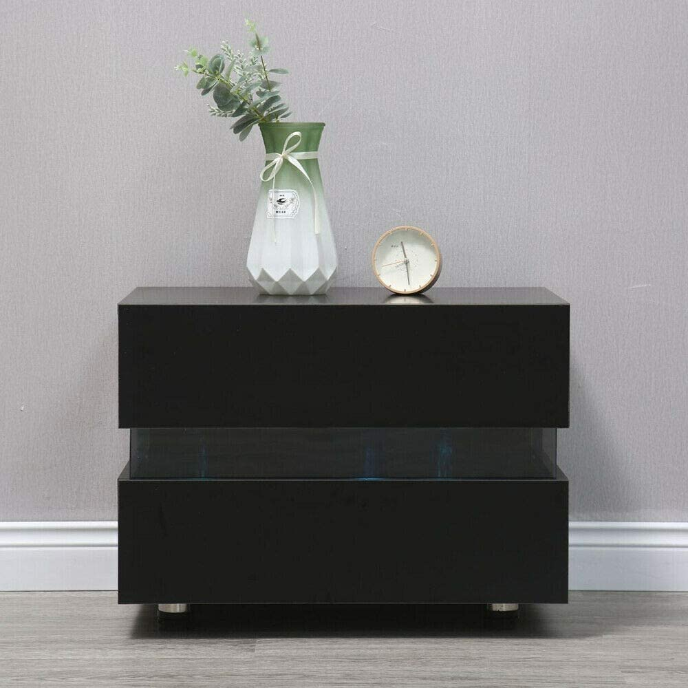 Bedside Cabinet Modern Led Light Coffee Max 58% OFF Nightstand 2 Drawer Tab Quality inspection