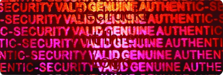 EtikettenWorld BV, EW-H-2400-14-tdr-700, 700 Stück Hologrammaufkleber, 2D, 10x40mm rotfarbige rotfarbige rotfarbige Metallfolie, bedruckt in dunkel-rot mit Ihrem Wunschtext Logo, Hologramm Etiketten, selbstklebend, Hologramm Aufkleber, Sicherheitssiegel, Garantiesiegel, G 054954