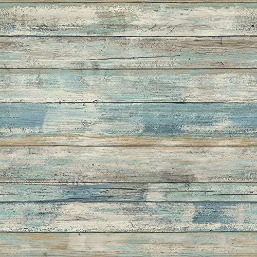 Hode Papel Adhesivo para Muebles Madera Azul Desprendible Papel Pintado Adhesivo Decorativo para...