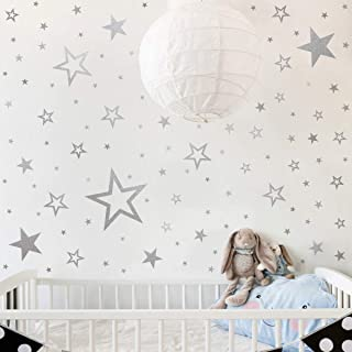Mozamy Creative Star Wall Decals (146 Count) Silver Star Wall Decal Bedroom Wall Decals Star Wall Stickers Removable Peel and Stick Wall Decals, Vintage Silver