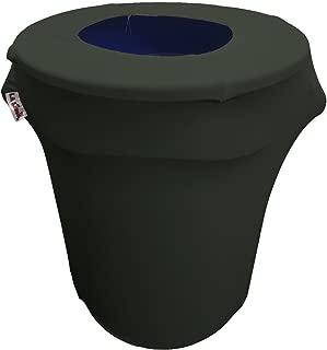 LA Linen Stretch Spandex Trash Can Cover 32-Gallon Round,Black