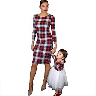 Mommy and Me Outfits Stretchy Plaid Christmas Dresses Long Sleeve Family Matching Outfits