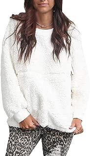 Macondoo Women Basic Pullover Fuzzy Sherpa Warm Sweatshirts