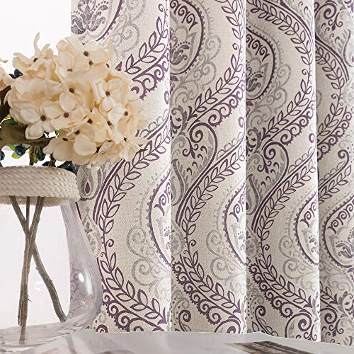 Damask Printed Curtains for Bedroom Drapes Vintage Linen Textured Medallion Curtain Panels Window Treatments Room Darkening for Living Room Patio Door 1 Pair 63 Inches Long Purple
