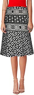 Sttoffa Women's Cotton Block Printed Wrap Around Skirt (B&WW24-0006, White, Free Size)
