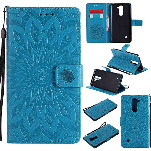 pinlu® PU Leder Tasche Etui Schutzhülle für LG Stylus 2 / Stylus 2 Plus Lederhülle Schale Flip Cover Tasche mit Standfunktion Sonnenblume Muster Hülle (Blau)