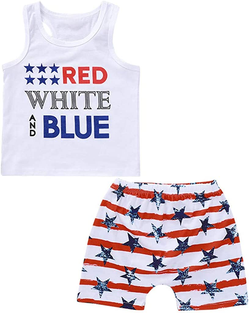2Piece Toddler Outlet SALE Baby Great interest Boy Outfits Print Sleeveless Set Letter Pat
