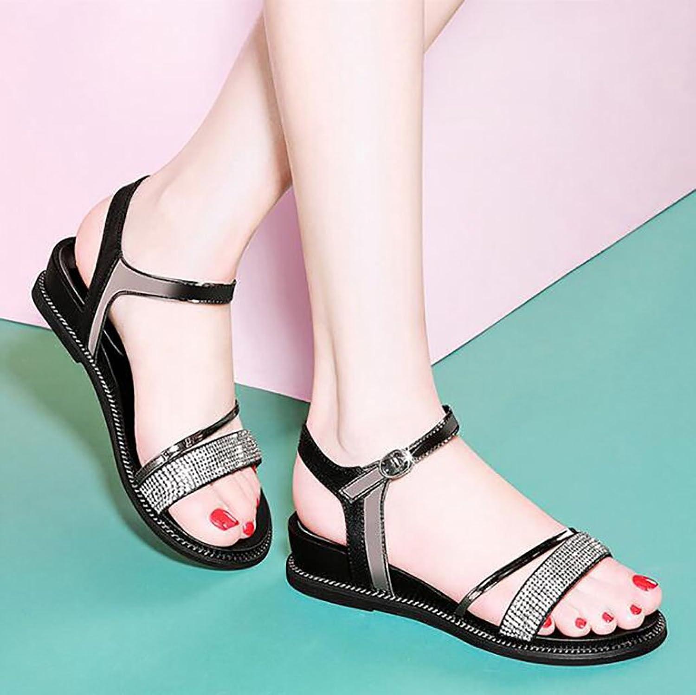 Roman Sandals Summer Flat Sandals Korean Students Simple shoes Flat Sandals,Fashion Sandals (color   A, Size   40)