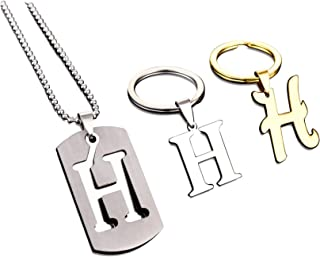 3 Pack Letter Keychain for Boyfriend Stainless Steel Men's Alphabet Car Key Ring Initial Necklace