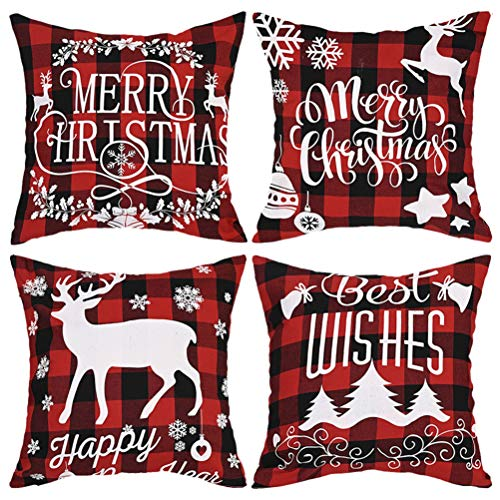 NIVNI Christmas Pillow Case, 4 pcs Christmas Pillow Case Sofa Throw Pillow Case Cover Cushion Cover Home Living Room Decor