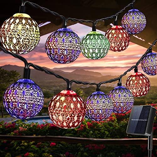 LED Solar Lichterketten Außen, 7M 50 LED, IP65 Wasserdicht Marokkanische Lichterketten Aussen, 8 Modi Solarlampen für Balkon, Garten, Terrasse, Weihnachten, Hochzeiten, Partys deko (Bunt)