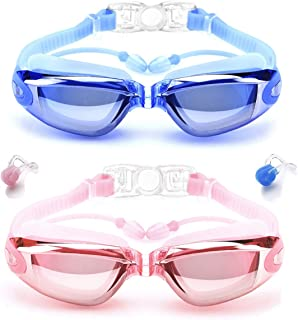 mountop Swim Goggles with Conjoined Ear Plugs, Pack of 2 Anti Fog No Leaking UV Protection Swimming Goggles for Women Men Adult Youth