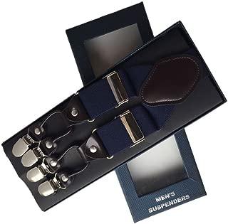 35mm Wide Mens Suspenders 6Clips Adjustable Elastic Belt Leather Braces Wedding (Solid Navy)