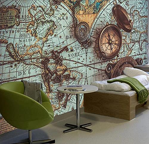 Custom Wallpaper 3D Vintage World Map Pocket Watch Photo Wall Mural Restaurant Cafe Study Background Wall Decor-430Cmx300Cm
