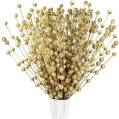 200 Pezzi Stelo di Bacche Artificiale di Natale Decorazioni per Albero di Natale Finta Selezione di Natale per Casa Bastoncini Lampeggianti Ghirlanda Fai da Te 13,8 Pollici (Oro)
