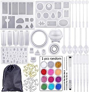 DIYARTS 83 Piezas Molde Silicona Resina para Hacer Joyerias Kit, Fundición Silicona Bricolaje Joyería Molde Artesanía Conjunto Herramientas con Bolsa Almacenamiento