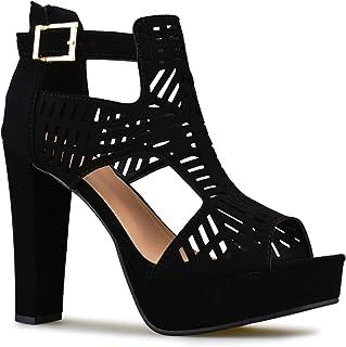 Premier Standard - Women's Laser Cut Out Ankle Strap High Heel - Open Toe Sandal Pump - Chunky Wooden Heel Platform Shoe