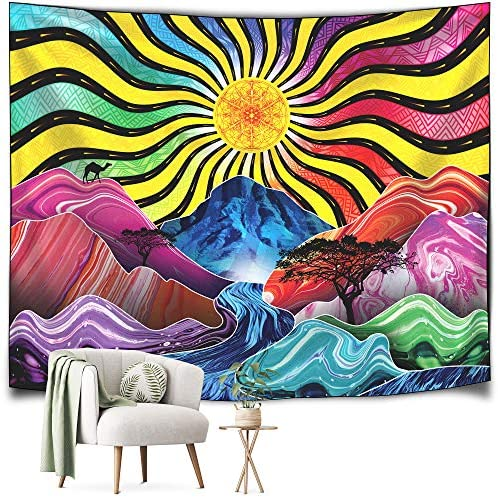 TEDERR Trippy Tapestry Psychedelic Colorful Sun Mountains River and Trees Room Decor Tapastry product image