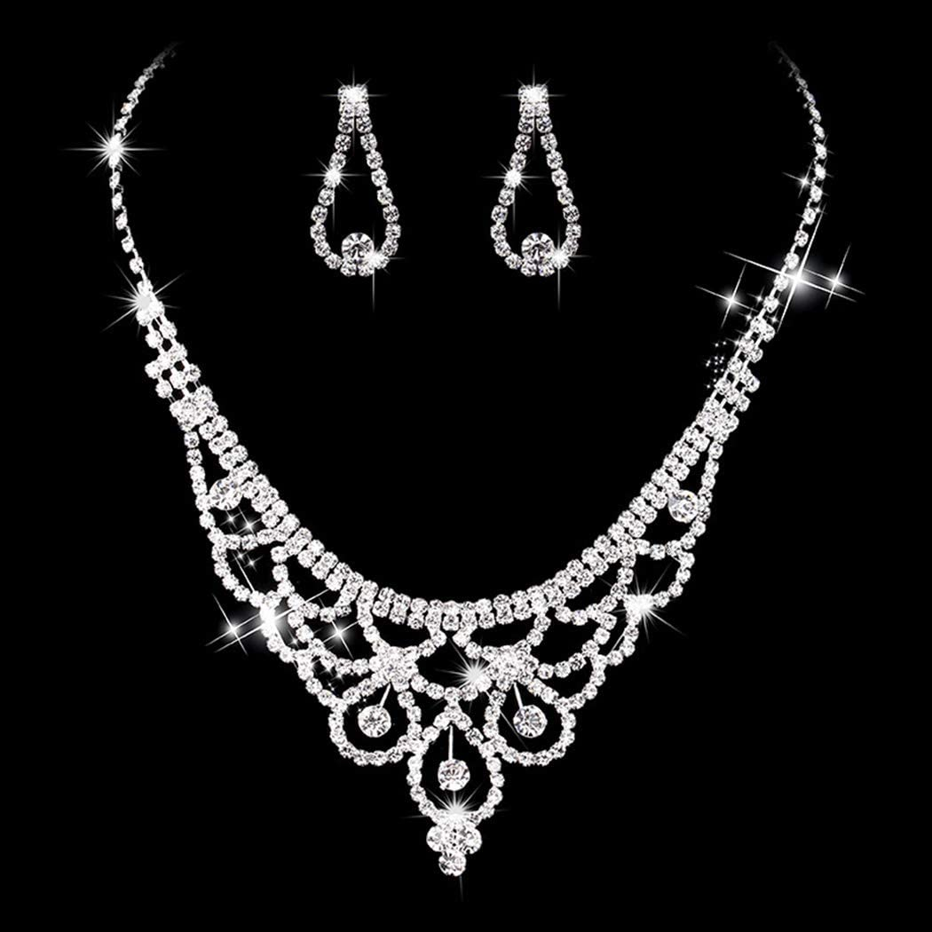 Yikisdy Bridal Necklace Earrings Set Sliver Rhinestone Jewelry Set Crystal Necklaces Wedding Accessory for Women and Bride (Pack of 3, 2 earrings and 1 necklace)