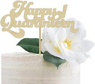 DKISEE Tarta de cumpleaños con purpurina para 16 cumpleaños de cuarentena Happy Quaranaranarante, adolescente, 15 cm