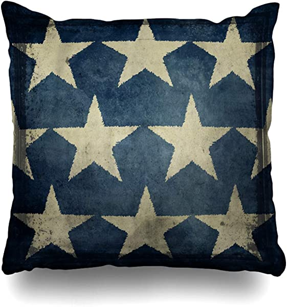 NOWCustom Throw Pillow Cover Art Blue Patriotic Antique Detail Stars Americana America July Fourth White Aged Design Zippered Pillowcase Square Size 16 X 16 Inches Home Decor Pillow Case