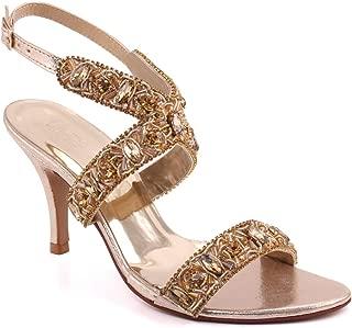 Unze Women MONANA Crystal Stone Mid-Low Heel Slip On Evening Party Wedding Formal Stiletto Slip On Heel Sandals UK Size 3-8 - AK-027.3