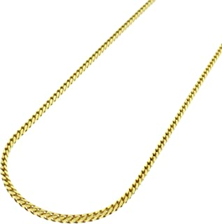 """14K Yellow Gold 1.5mm Solid Franco Square Box Link Necklace Chain 16"""" - 24"""", Men & Women, In Style Designz"""