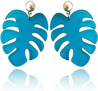 Large Tropical Leaf Post Earrings in Teal Acrylic