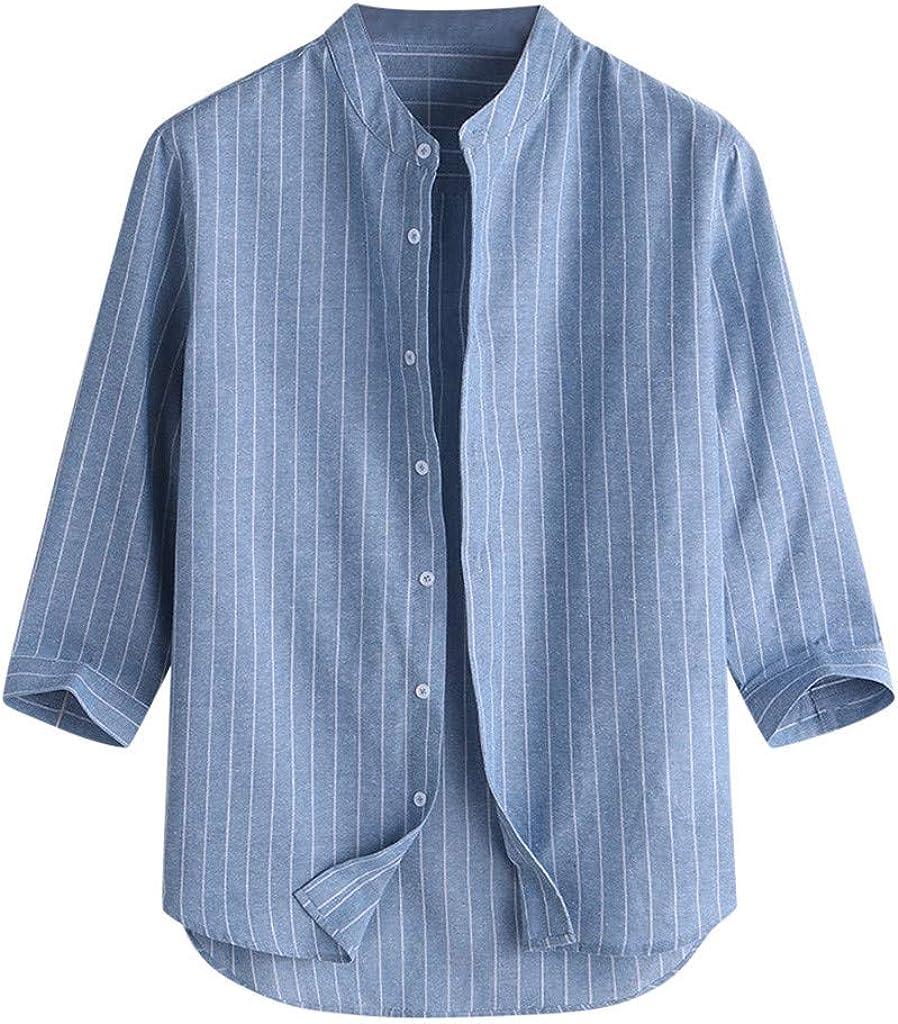 Holzkary Mens Big and Tall 3/4 Sleeve Button Down Dress Shirts Stand Collar Striped Henley Shirt