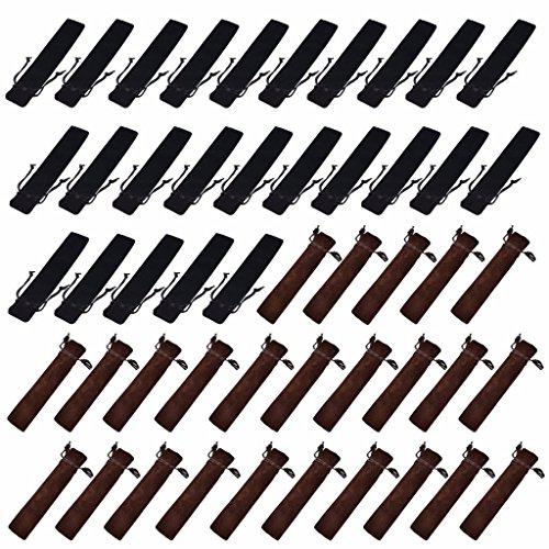 Crqes 50 Pcs Velvet Pen Pouch Sleeve Holder Single Pen Bag Case Pencil Bag,Black & Brown