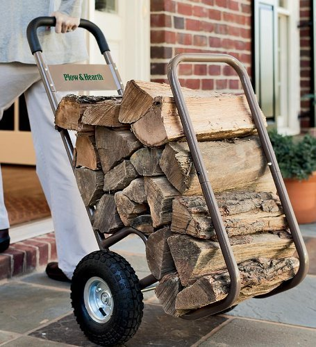 Plow & Hearth Indoor Outdoor Rolling Firewood Log Cart, Wood Rack and Carrier, with Pneumatic Wheels 20W x 22D x 42H