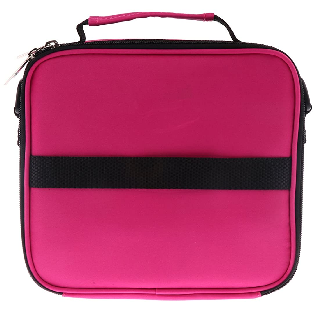 クラシック一般的に言えば縮約Hellery 全6色 アロマポーチ エッセンシャルオイル ケース 香水収納バッグ アロマケース 携帯用 30本用 - ローズレッド