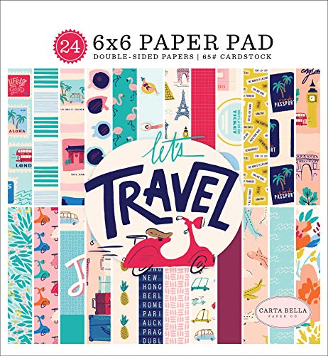 Carta Bella Paper Company CBLT100023 Let's Travel - Bloc de notas (6 x 6 hojas), color rosa, morado, naranja, azul, verde, negro