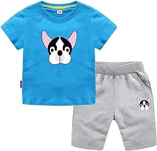 Fansu Pigiama Cotone Manica Corta per Bambino Due Pezzi Pigiami Set T Shirt per 2-7 Anni Estivo Bambina e Ragazze Pigiami Abbigliamento Pantaloni Corti
