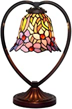 Tiffany Style Retro Stained Glass Table Lamp Pastoral Floral Desk Light with Zinc Alloy Base for Living Room Bedroom Cafe ...