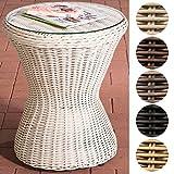 CLP Design Poly-Rattan Beistell-Tisch SANDINO, rund Ø 50 cm, Höhe ca. 60 cm, Sonnenliegen-Beistelltisch, Balkontisch mit Glasplatte aus 5 mm Sicherheitsglas Perlweiß