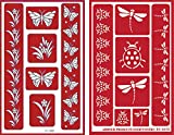 Over 'n' Over Reusable Self-Stick Etching Stencil for Glass (or Stamping) - Bundle of Two Sets - Butterflies & Garden Friends
