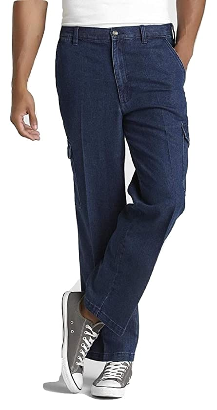 David Taylor Collection Men's Back Elastic Cargo Pants Size 44x30 Dark Denim