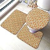 Juego de 3 alfombrillas de baño con diseño de mandarina y llave griega de color naranja