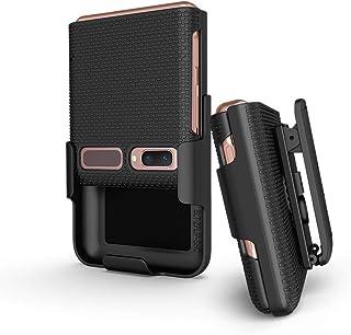 BELTRON Schutzhülle mit Clip für Galaxy Z Flip 5G, aufsteckbar, Schutzhülle mit drehbarem Gürtelholster, integrierter Ständer, für Samsung Galaxy Z Flip Phone (SM F700, SM F707), Schwarz