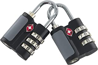 Tsa Approved Luggage Lock with Hardened Steel Shackle, Open Alert Indicator,Easy Read Dials, Alloy Body-2 Pack(Black)