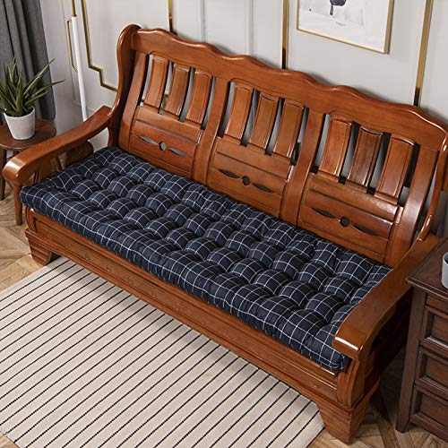 YYEWA - Cojín para banco de jardín, 2 o 3 plazas con puntos acolchados, cojín de repuesto para colchón de interior exterior, lavable, azul, XL